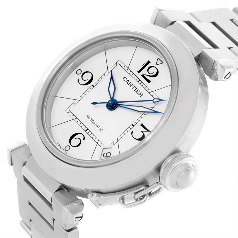 10886 Cartier Pasha C Midsize Steel Watch White Dial W31074M7 SwissWatchExpo