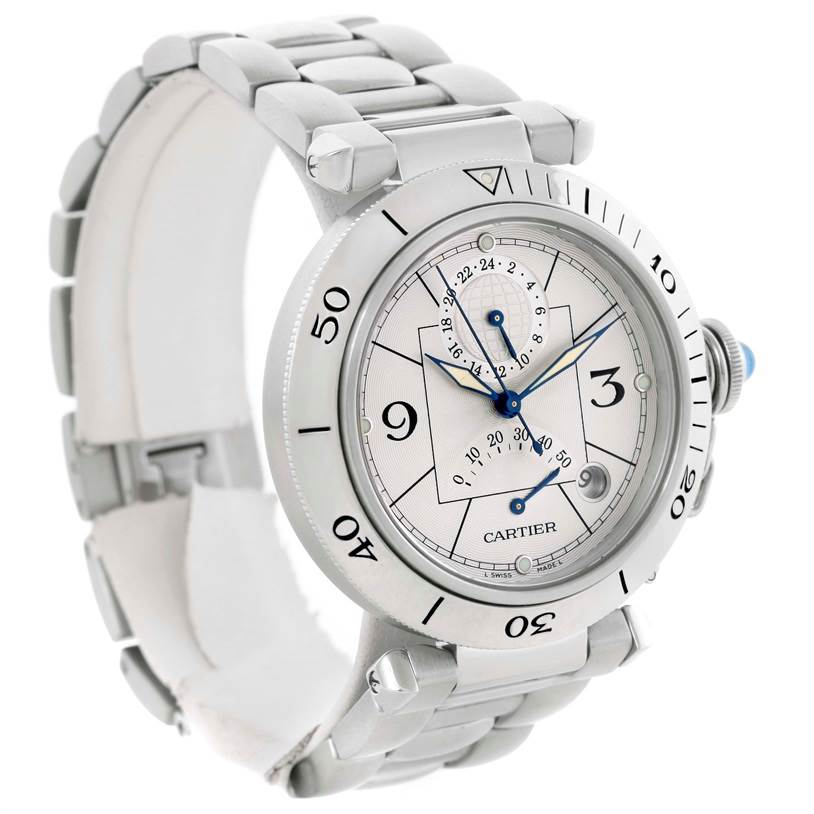 10861 Cartier Pasha Power Reserve GMT Mens Silver Dial Watch W31037H3 SwissWatchExpo