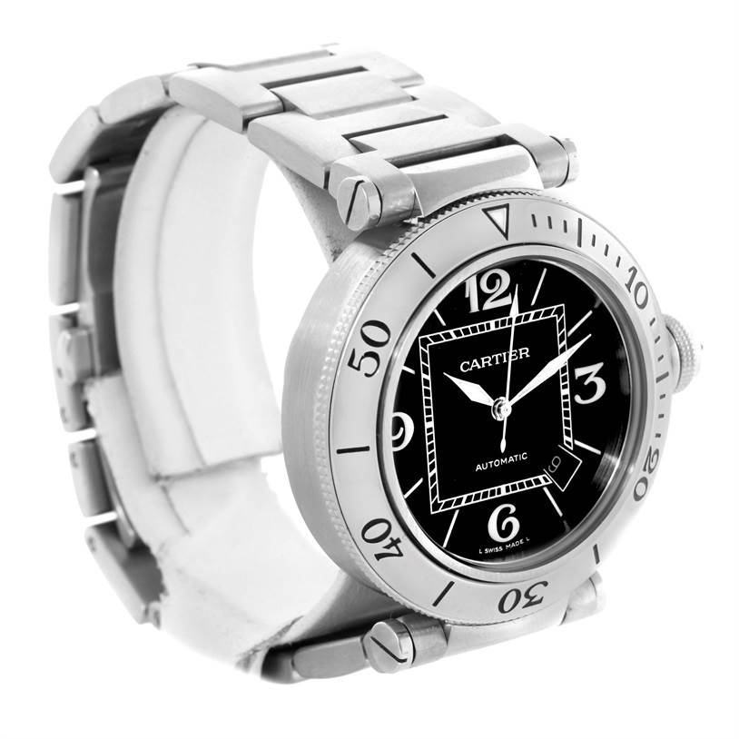 10672 Cartier Pasha Seatimer Black Dial Steel Watch W31077M7 Box Papers SwissWatchExpo