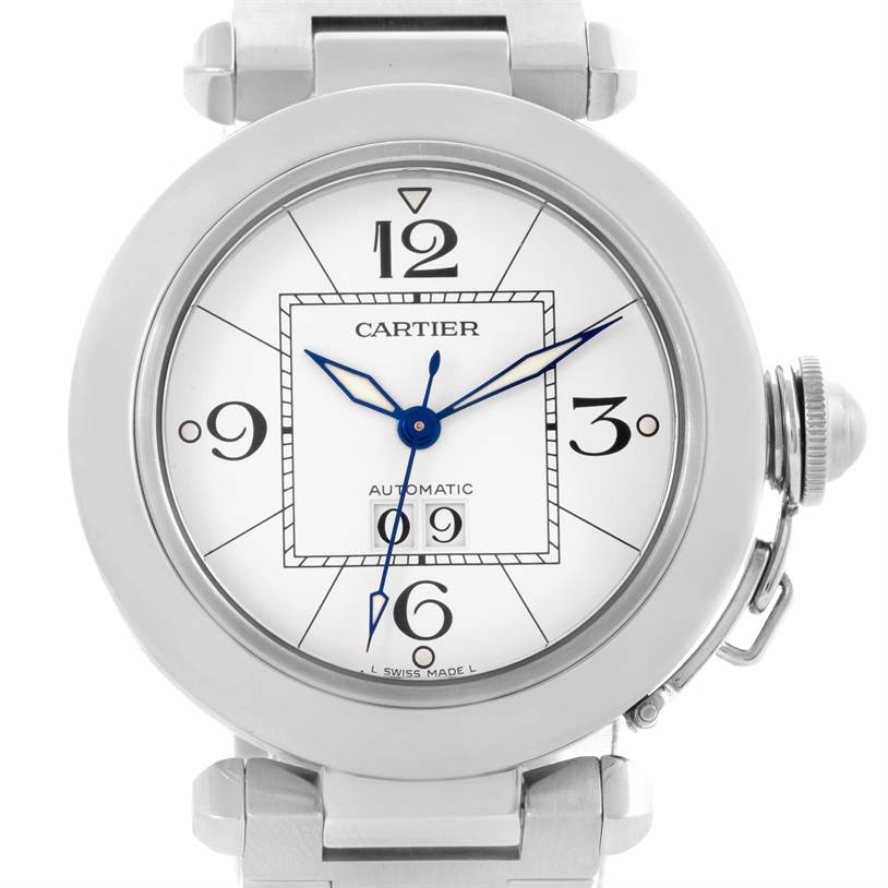 10536 Cartier Pasha C Midsize Steel Watch Big Date White Dial W31044M7 SwissWatchExpo