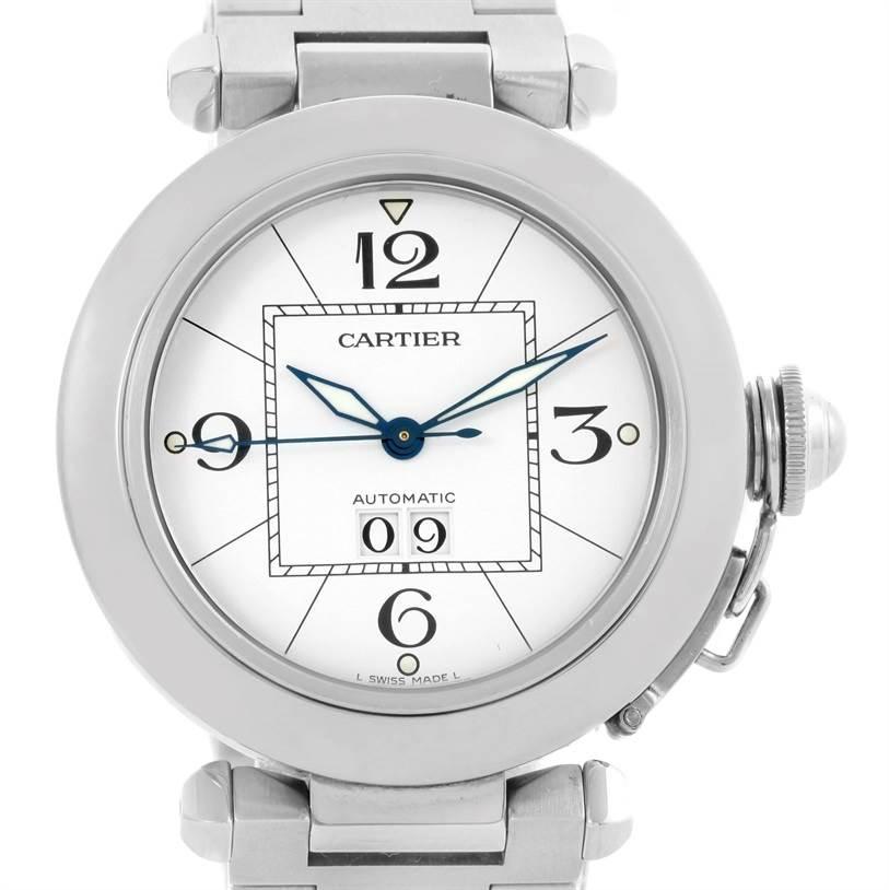 10540 Cartier Pasha C Midsize Steel Watch White Dial Watch W31044M7 SwissWatchExpo