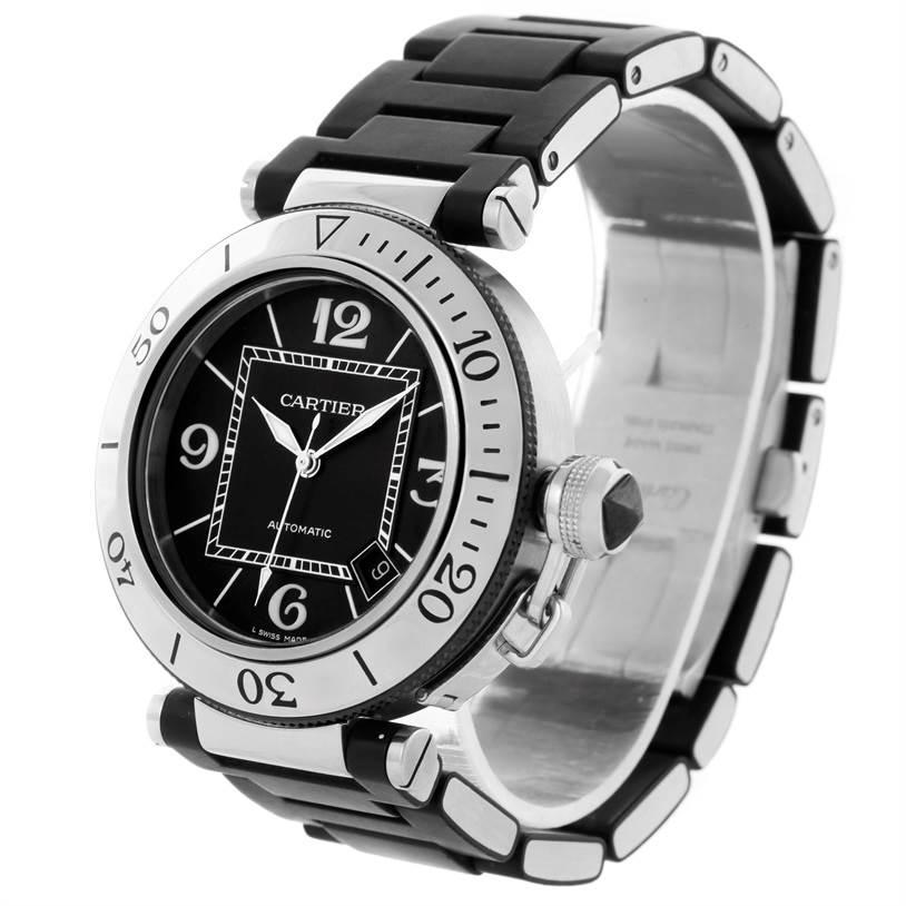 10595 Cartier Pasha Seatimer Stainless Steel Black Rubber Watch W31077U2 SwissWatchExpo