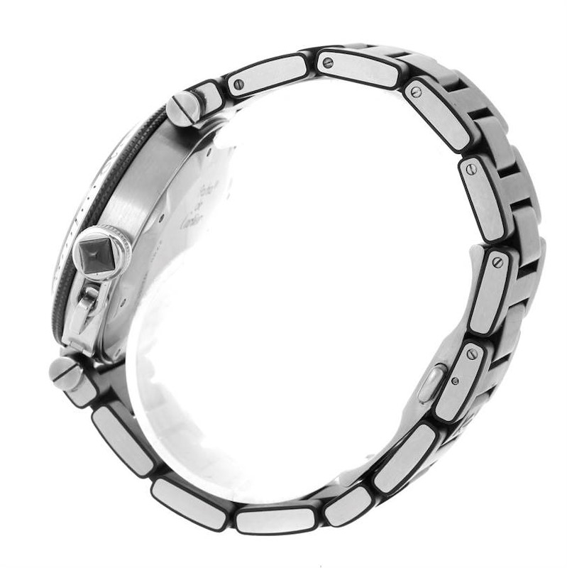 Cartier Pasha Seatimer Stainless Steel Black Rubber Watch W31077U2 SwissWatchExpo
