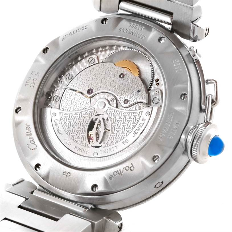 11082 Cartier Pasha Power Reserve GMT Stainless Steel Watch W31037H3 SwissWatchExpo