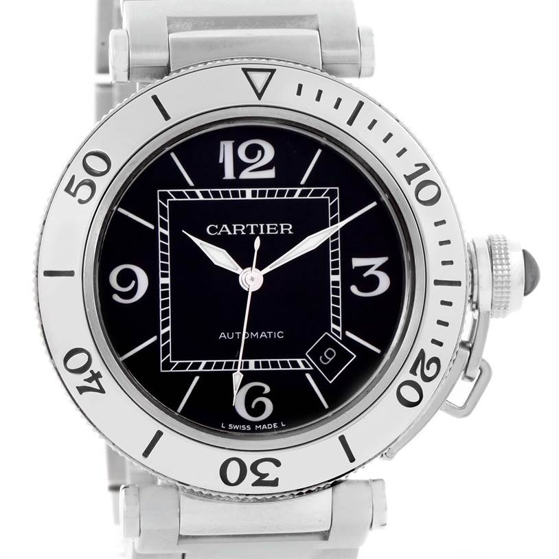 11129 Cartier Pasha Seatimer Black Dial Stainless Steel Watch W31077M7 SwissWatchExpo