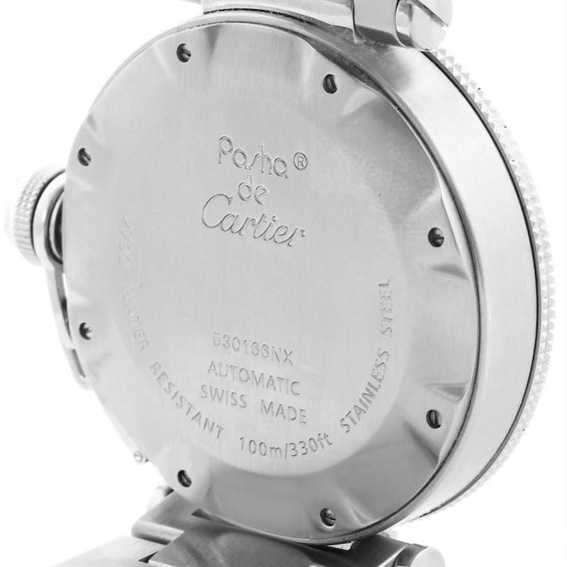 Cartier Pasha Seatimer Black Dial Stainless Steel Watch W31077M7 SwissWatchExpo