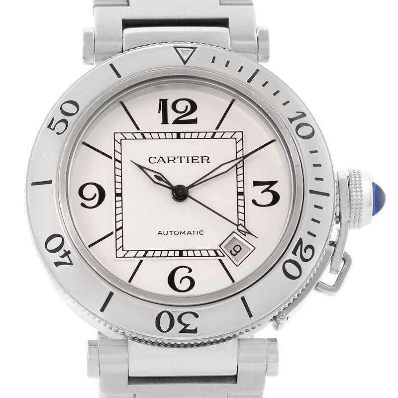 Cartier Pasha Seatimer Stainless Steel Silver Dial Watch W31080M7 SwissWatchExpo