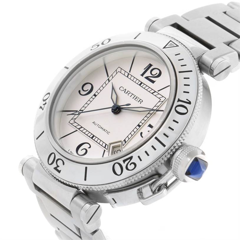 11083 Cartier Pasha Seatimer Stainless Steel Silver Dial Watch W31080M7 SwissWatchExpo