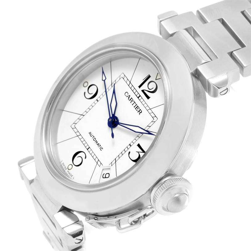 12439 Cartier Pasha C Medium Automatic White Dial Watch W31074M7 Box Papers SwissWatchExpo