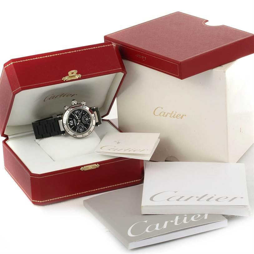 11132 Cartier Pasha Seatimer Chronograph Mens Watch W31088U2 Box Papers SwissWatchExpo