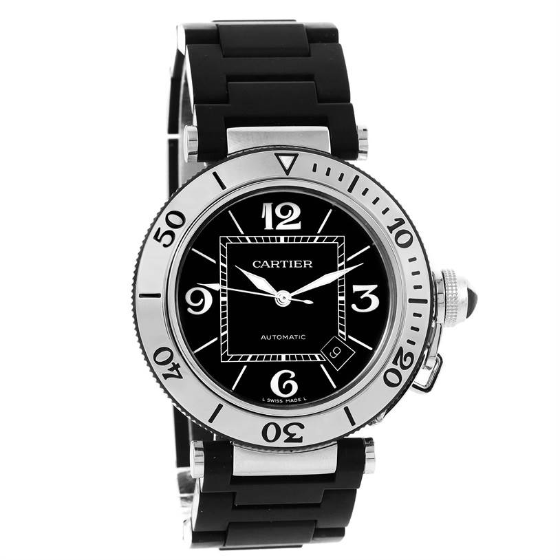 11472 Cartier Pasha Seatimer Steel Black Rubber Strap Mens Watch W31077U2 SwissWatchExpo