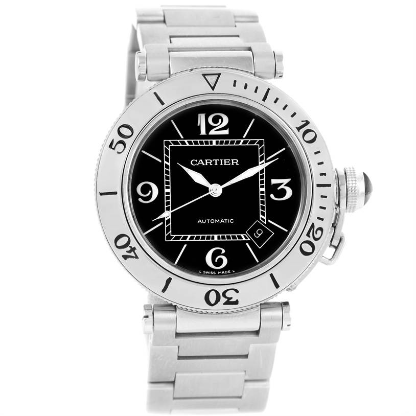 11084 Cartier Pasha Seatimer Black Dial Stainless Steel Watch W31077M7 SwissWatchExpo