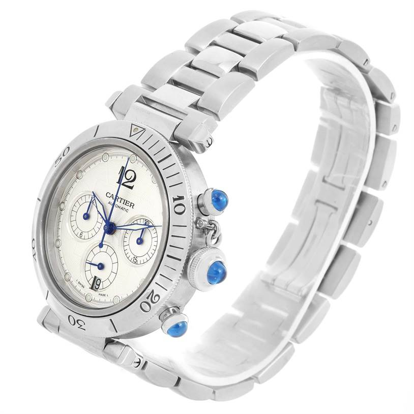 Cartier Pasha Seatimer Chronograph Steel Mens Watch W31030H3 SwissWatchExpo
