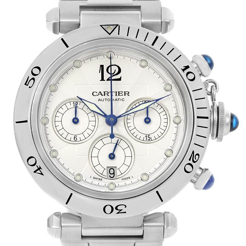 11131 Cartier Pasha Seatimer Chronograph Steel Mens Watch W31030H3 SwissWatchExpo