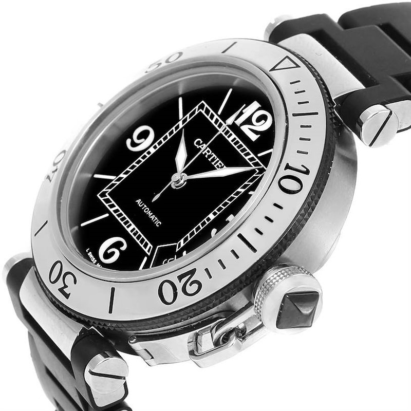 Cartier Pasha Seatimer Rubber Strap Stainless Steel Watch W31077U2 SwissWatchExpo