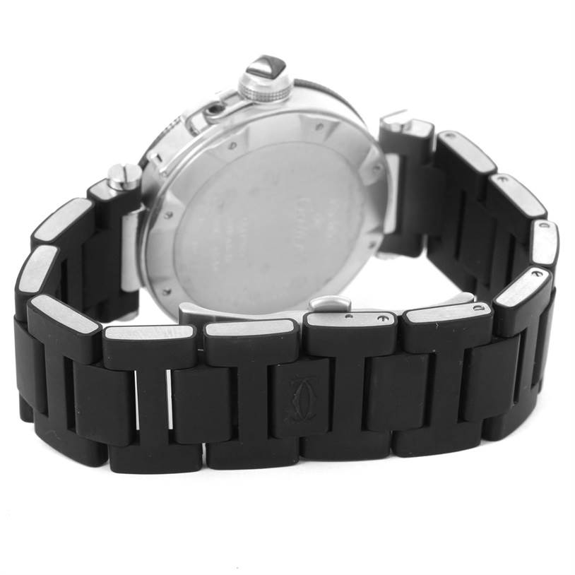 11288 Cartier Pasha Seatimer Rubber Strap Stainless Steel Watch W31077U2 SwissWatchExpo