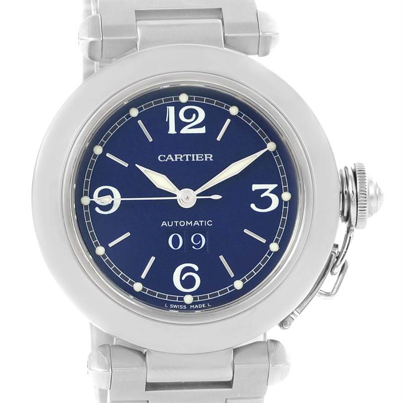 10545 Cartier Pasha C Midsize Steel Blue Dial Watch Big Date W31047M7 SwissWatchExpo