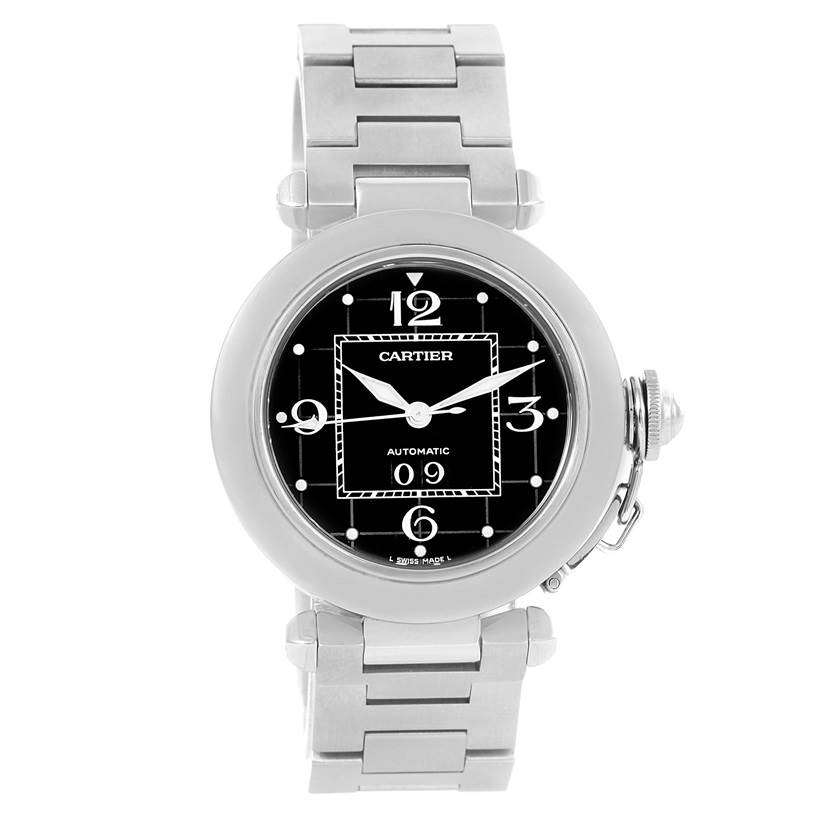 12153 Cartier Pasha C Midsize Big Date Steel Watch Black Dial W31053M7 SwissWatchExpo