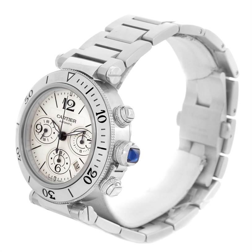 13128 Cartier Pasha Seatimer Chronograph Mens Watch W31089M7 Unworn SwissWatchExpo