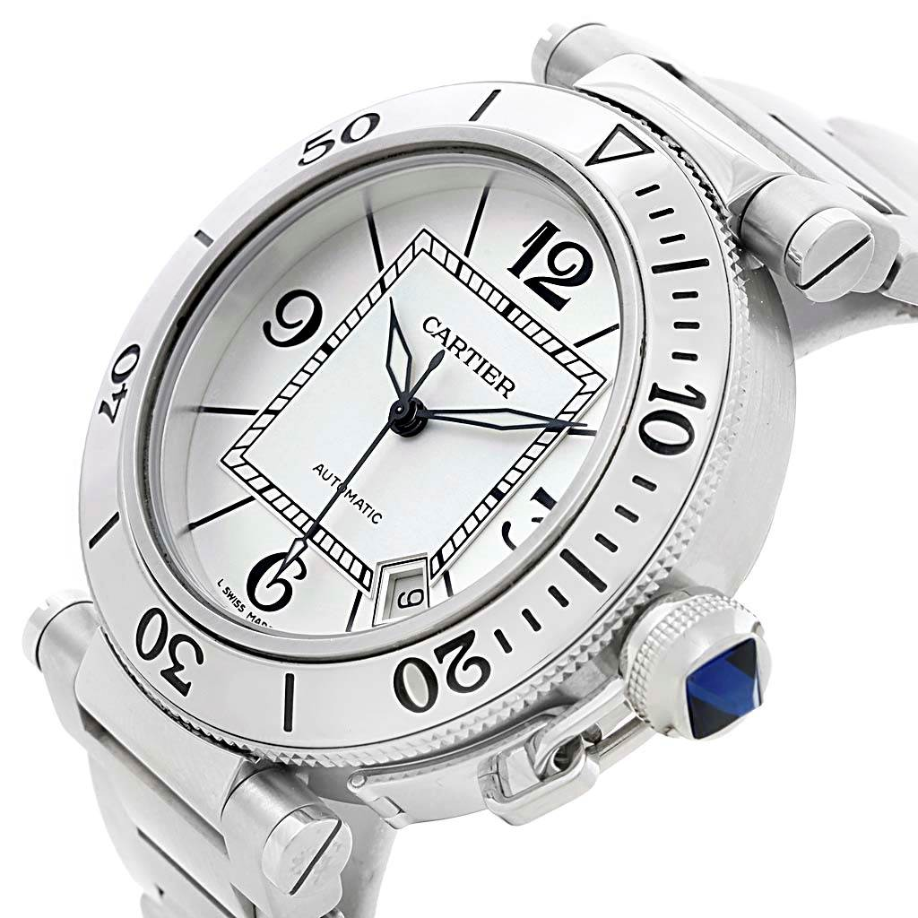 13061 Cartier Pasha Seatimer Steel Silver Dial Mens Watch W31080M7 Box Papers SwissWatchExpo