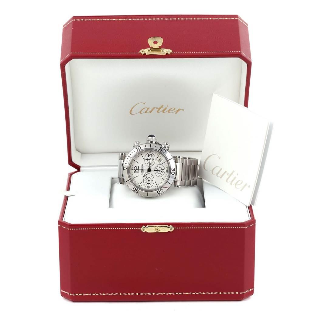 13879 Cartier Pasha Seatimer Chronograph Silver Dial Mens Watch W31089M7 SwissWatchExpo