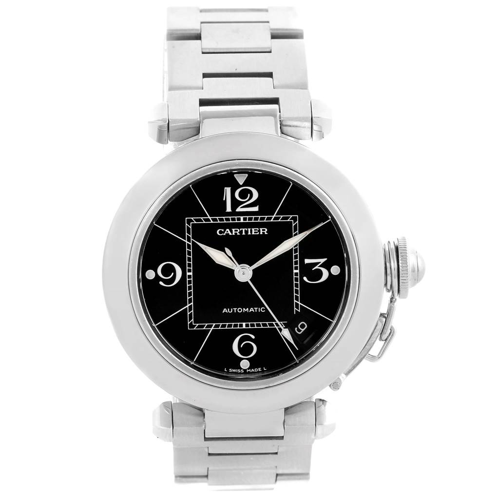 13423 Cartier Pasha C Medium Black Dial Stainless Steel Date Watch W31076M7 SwissWatchExpo