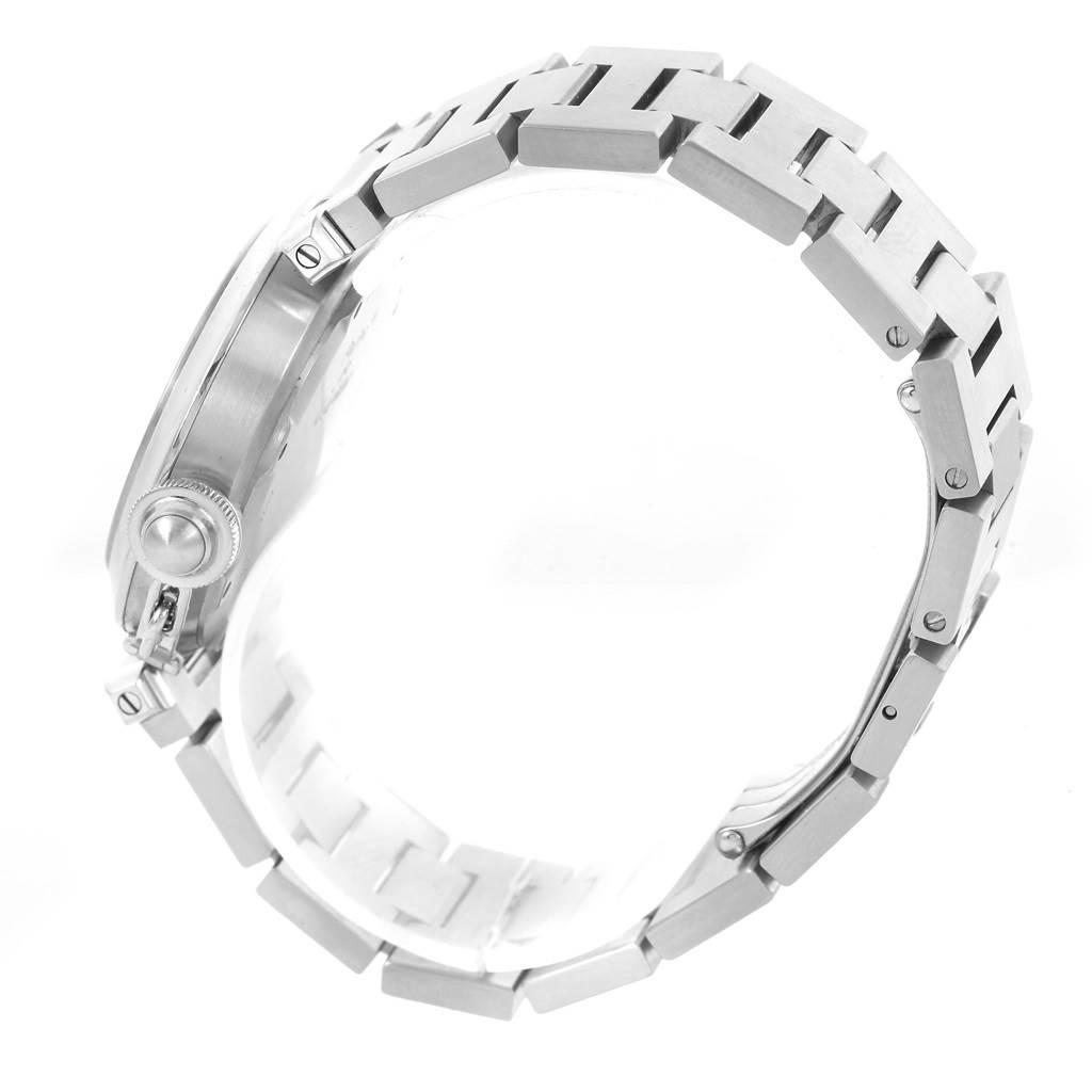 Cartier Pasha C Medium Black Dial Stainless Steel Date Watch W31076M7 SwissWatchExpo