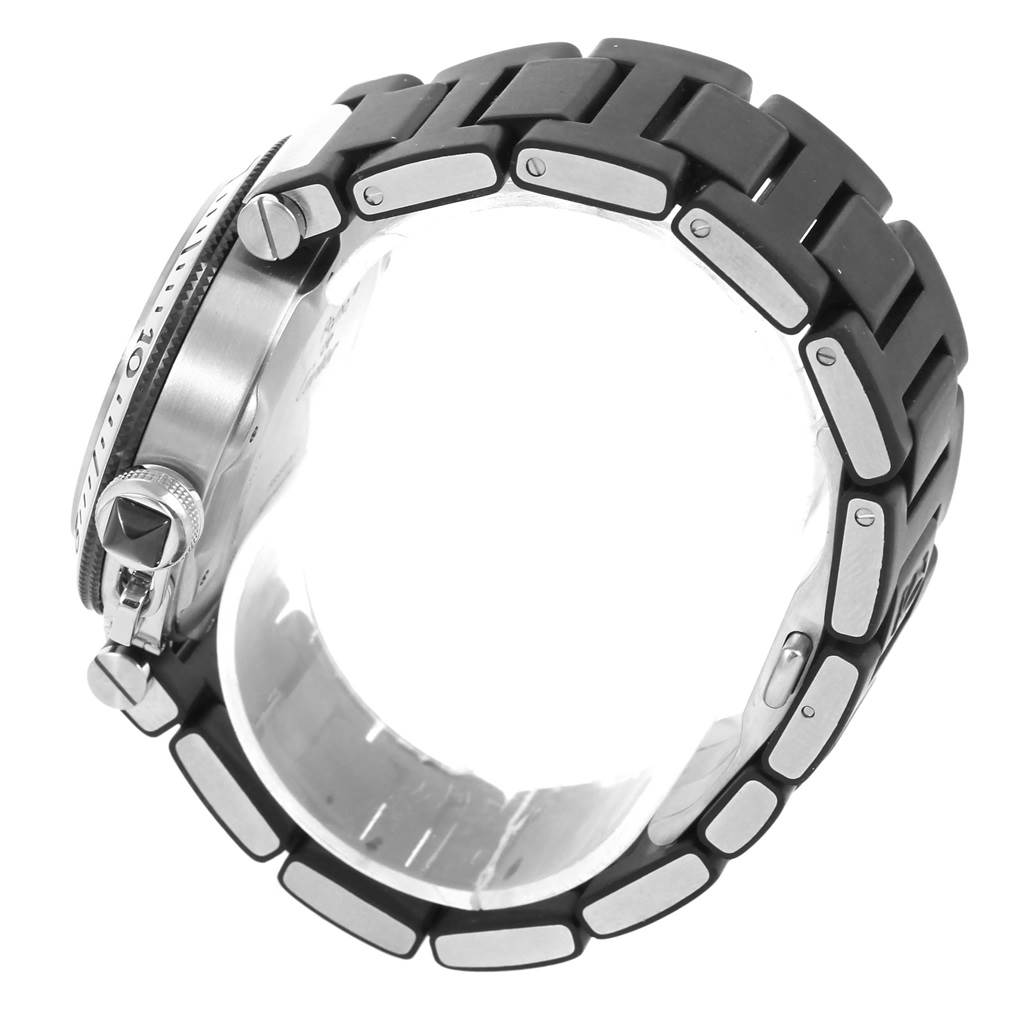 13314 Cartier Pasha Seatimer Rubber Strap Steel Mens Watch W31077U2 SwissWatchExpo
