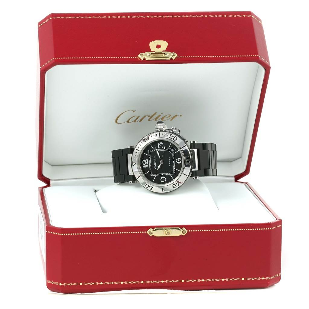 13314 Cartier Pasha Seatimer Rubber Strap Steel Mens Watch W31077U2 SwissWatchExpo