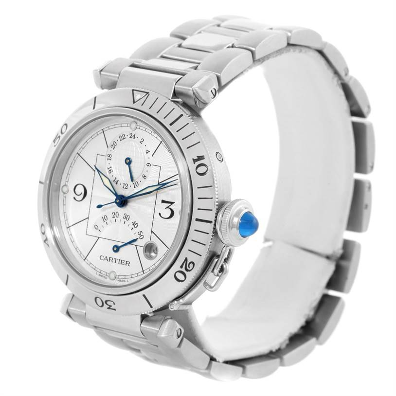 11085 Cartier Pasha GMT Power Reserve Mens Steel Watch W31037H3 SwissWatchExpo