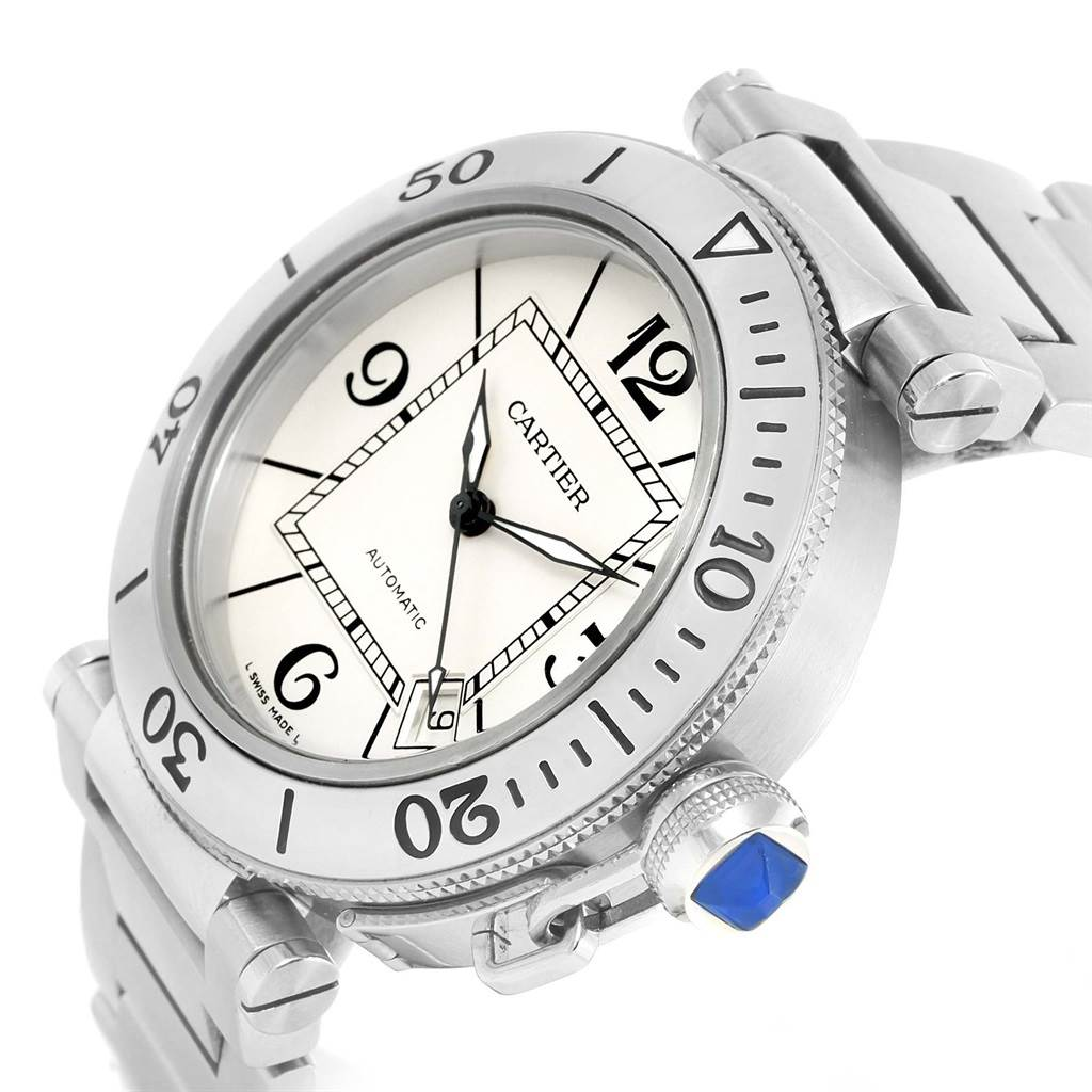 14110 Cartier Pasha Seatimer Stainless Steel Silver Dial Watch W31080M7 SwissWatchExpo