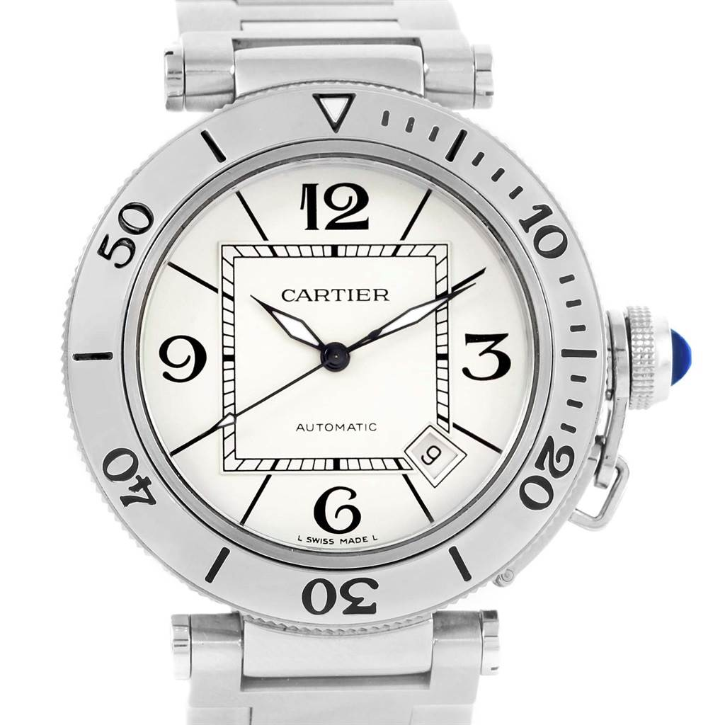 14109 Cartier Pasha Seatimer Automatic Steel Silver Dial Watch W31080M7 SwissWatchExpo