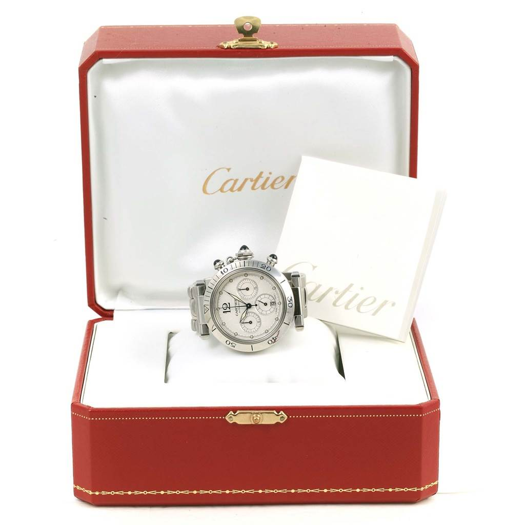 11126 Cartier Pasha Seatimer Chronograph Steel Mens Watch W31030H3 SwissWatchExpo