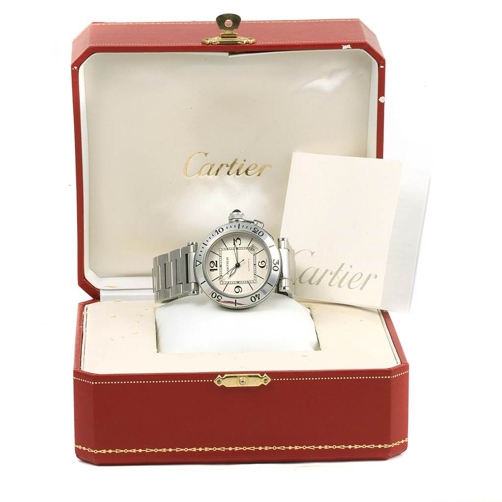 14674 Cartier Pasha Seatimer Stainless Steel Silver Dial Mens Watch W31080M7 SwissWatchExpo
