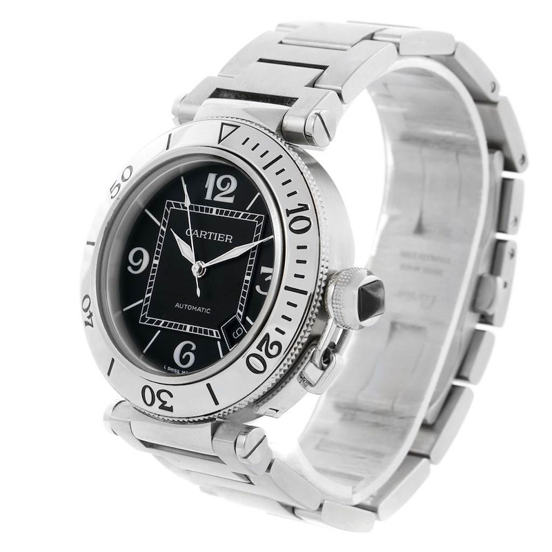 Cartier Pasha Seatimer Black Dial Stainless Steel Watch W31077M7 SwissWatchExpo