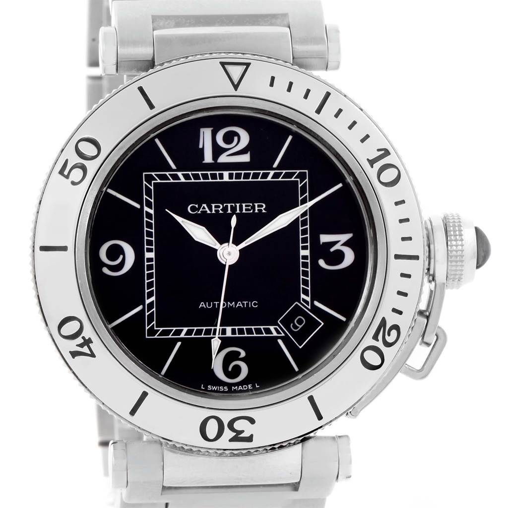 14455 Cartier Pasha Seatimer Black Dial Stainless Steel Watch W31077M7 SwissWatchExpo