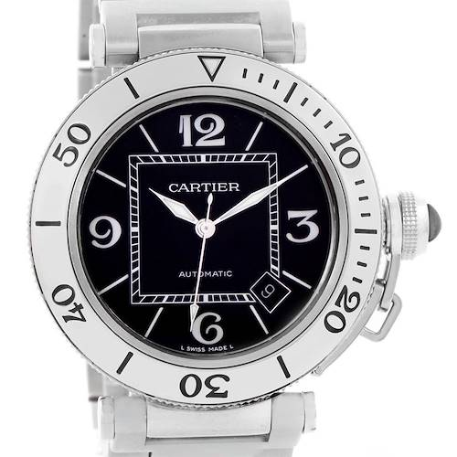 Photo of Cartier Pasha Seatimer Black Dial Stainless Steel Watch W31077M7
