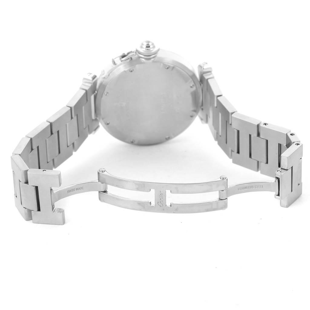 10535 Cartier Pasha C Midsize Big Date Steel Watch White Dial W31055M7 SwissWatchExpo