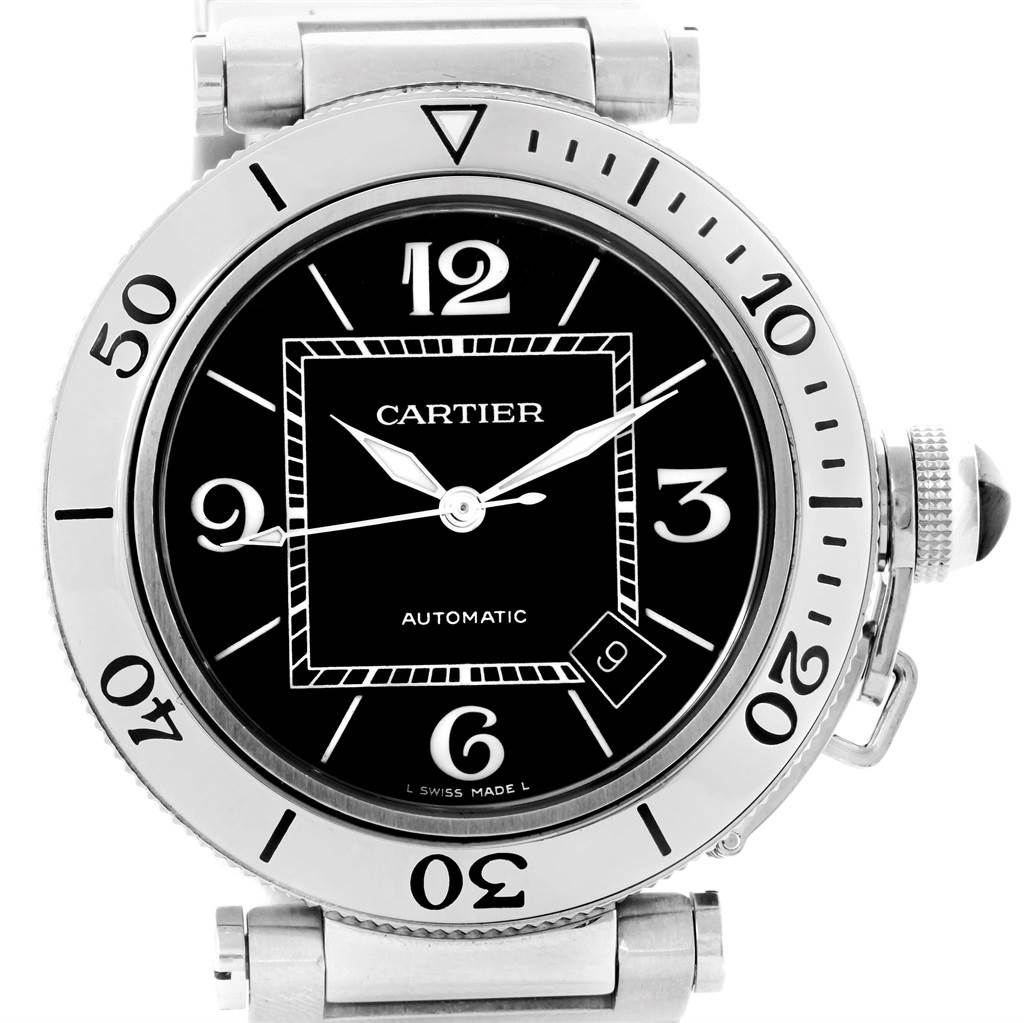 14832 Cartier Pasha Seatimer Black Dial Automatic Mens Watch W31077M7 SwissWatchExpo