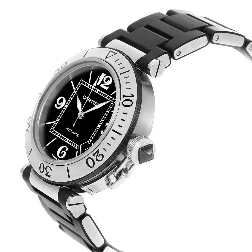 Cartier Pasha Seatimer Rubber Strap Steel Mens Watch W31077U2 Papers SwissWatchExpo
