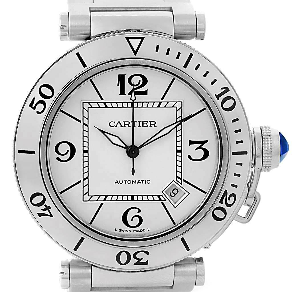 55a9658f6a73 ... 14690 Cartier Pasha Seatimer Stainless Steel Silver Dial Mens Watch  W31080M7 SwissWatchExpo ...