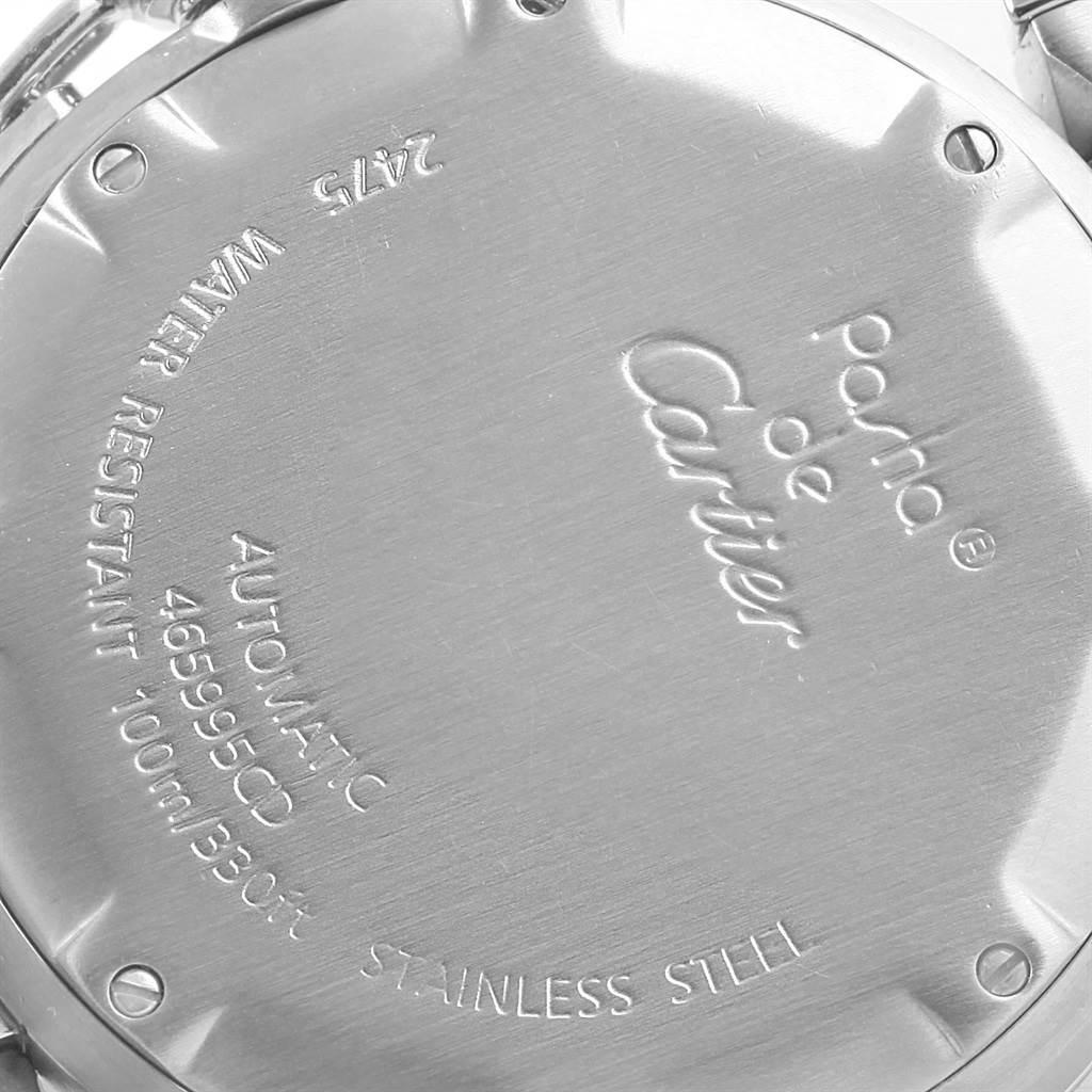 17978 Cartier Pasha C Midsize Steel Blue Dial Big Date Watch W31047M7 SwissWatchExpo