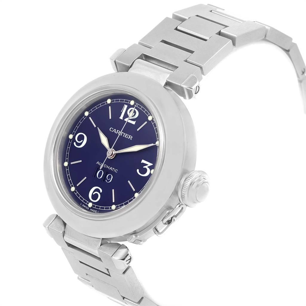Cartier Pasha C Midsize Steel Blue Dial Big Date Watch W31047M7 SwissWatchExpo