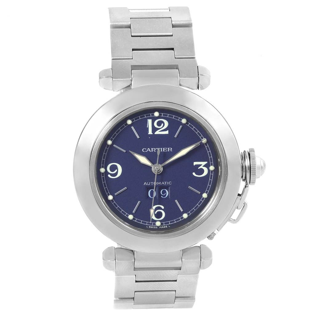 Cartier Pasha C 35mm Big Date Steel Blue Dial Unisex Watch W31047M7 SwissWatchExpo