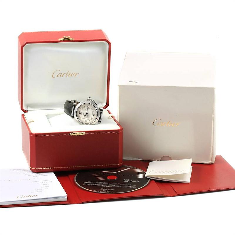 Cartier Pasha 42 Silver Dial Black Strap Mens Watch W3107255 Unworn SwissWatchExpo
