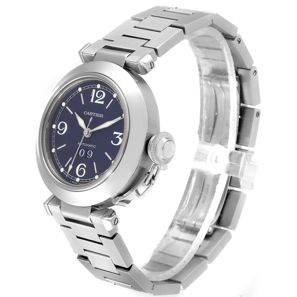 Cartier Pasha C 35 Blue Dial Automatic Steel Mens Watch W31047M7 SwissWatchExpo