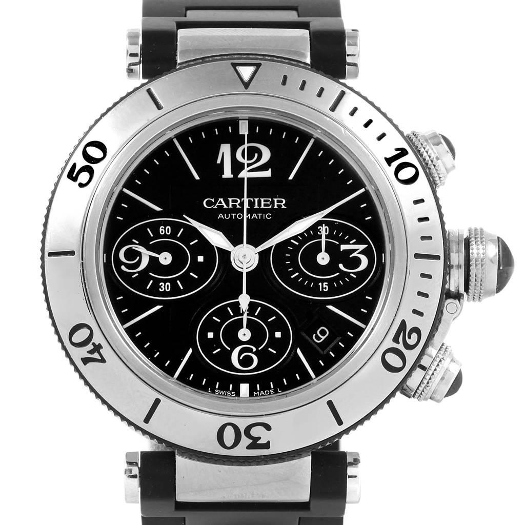 20924 Cartier Pasha Seatimer Chronograph Rubber Strap Watch W31088U2 Box SwissWatchExpo