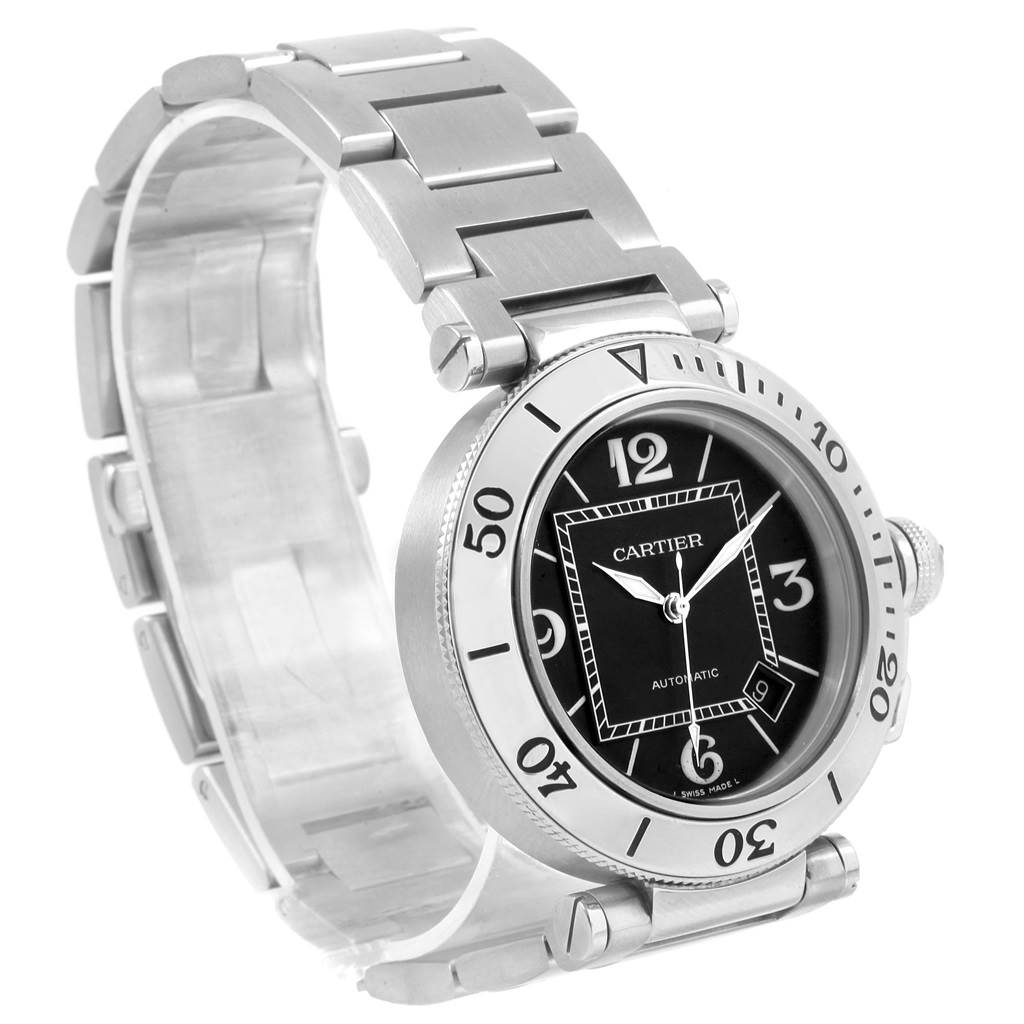 20712X Cartier Pasha Seatimer Black Dial Automatic Mens Watch W31077M7 SwissWatchExpo