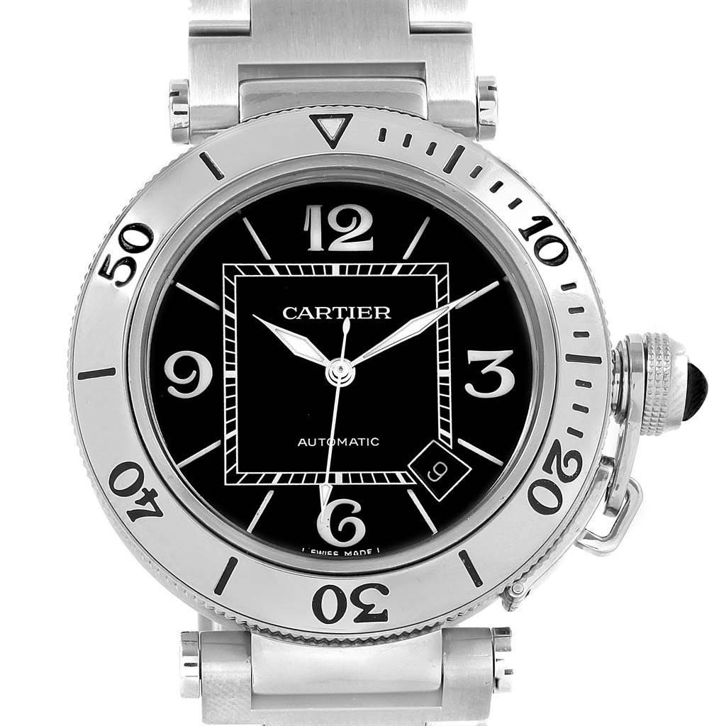 2dbe5da6799f ... 20712X Cartier Pasha Seatimer Black Dial Automatic Mens Watch W31077M7  SwissWatchExpo ...