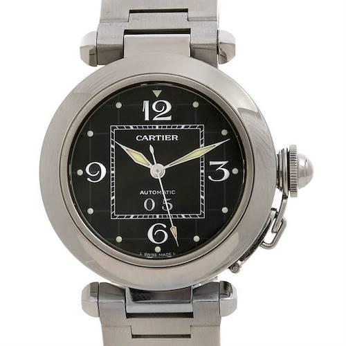 Photo of Cartier Pasha C Men's Steel Watch Big Date Black Dial W31055M7